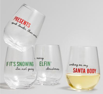 Holiday Sayings Sentiments Stemless Wine Glasses