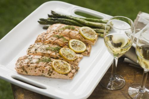 Lemon herb salmon with Sauvignon Blanc
