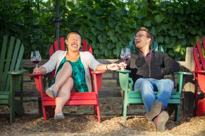 Couple enjoying a winery