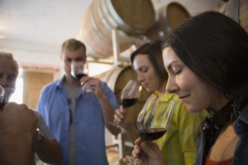 wine tasting in the barrel room