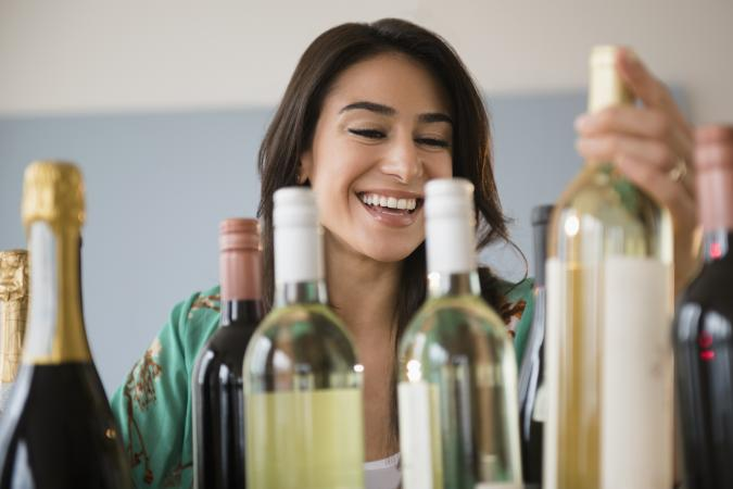 woman choosing wine