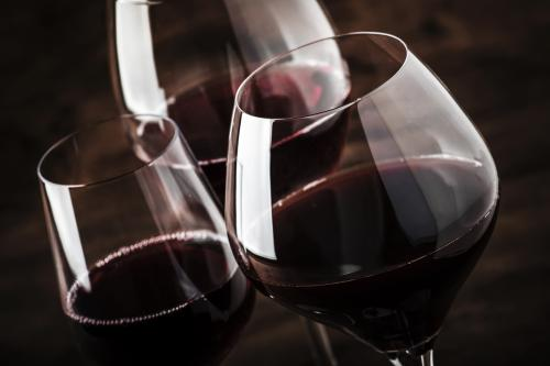 Glasses of Pinot Noir wine