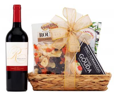 Cabernet sauvignon and cheese gift basket