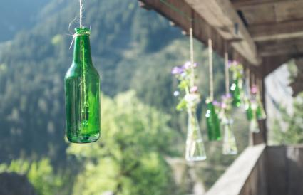 Hanging Wine Bottle Vases and Bells