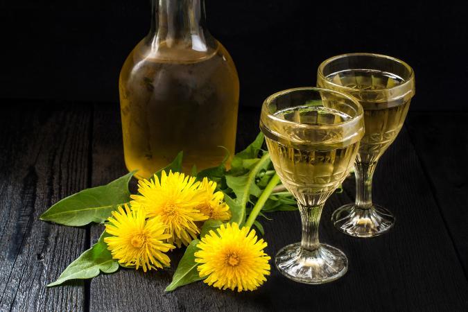 Dandelion wine and goblet