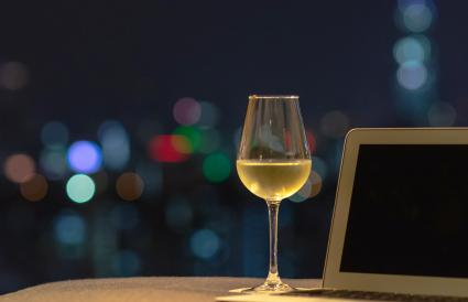 white wine with laptop computer
