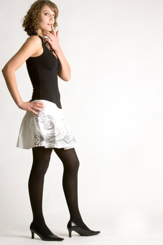 Woman in short skirts and pantyhose