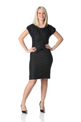 pin striped black dress