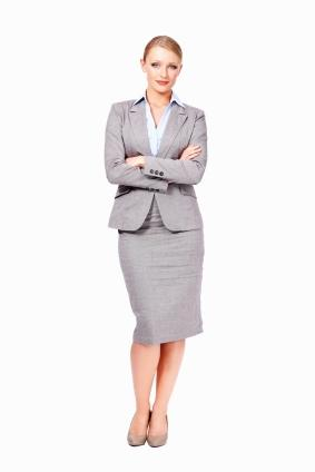 grey long skirt suit with nipped waist jacket