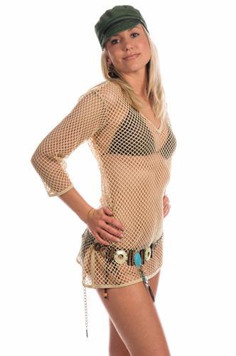 Woman in a bikini and a mesh tunic swim coverup