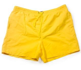 men's yellow shorter trunks