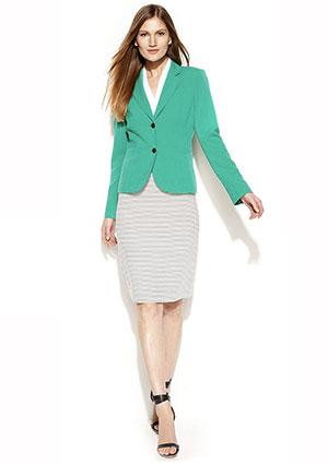 Calvin Klein Two-Button Blazer, Button-Front Shirt & Striped Pencil Skirt