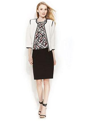 Calvin Klein Contrast-Trim Jacket, Printed Top & Pencil Skirt