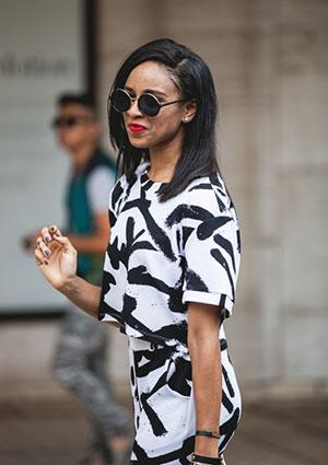 Woman wearing brush stroke print clothing