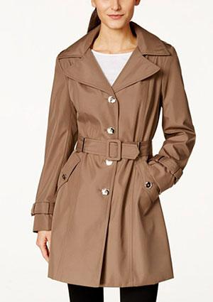 Calvin Klein Petite Hooded Single-Breasted Trench Coat