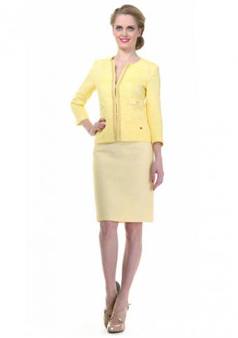 Blond woman in yellow suit