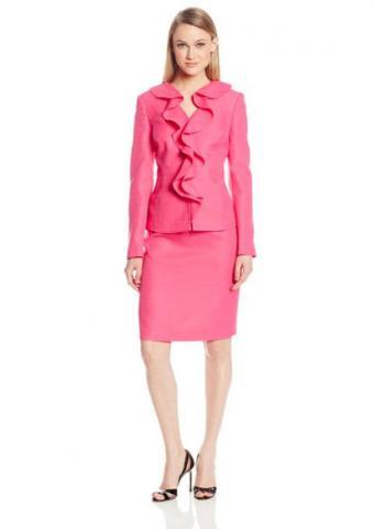 Le Suit Women's Ruffle Front Skirt Suit Set