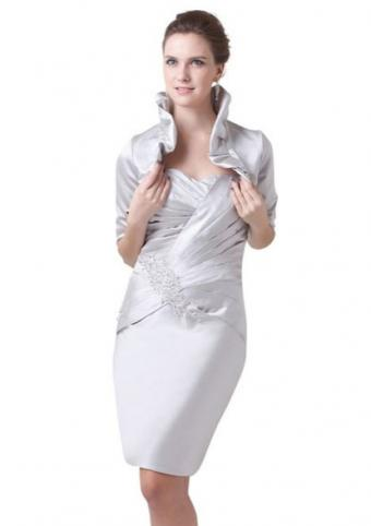Topwedding Pleated Satin Column Evening Dress with Jacket