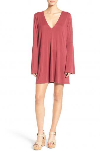 Lush V-Neck Bell Sleeve Knit Dress