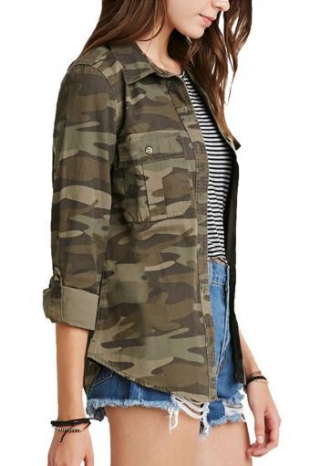 haoduoyi Women Military Camouflage Jacket Denim Coat