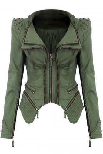 Yonala Women's Sharp Studded Shoulder Denim Military Jeans Jacket
