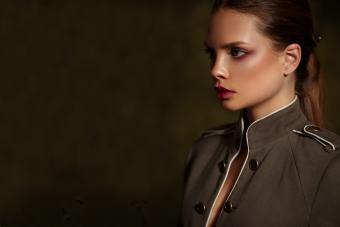 model wearing military-style jacket