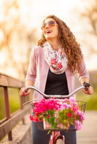 Woman wearing floral print scarf