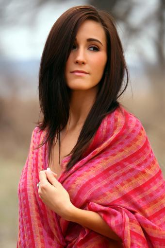 Woman wearing a pashmina as a shawl