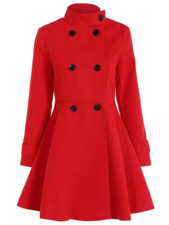 Double Breasted Coat With Skirted Trim