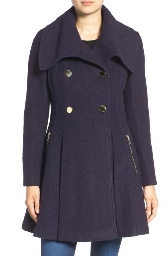 GUESS Envelope Collar Double Breasted Coat