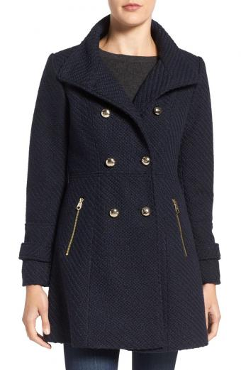 Jessica Simpson Fit & Flare Officers Coat