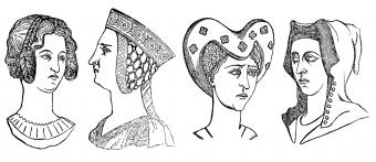 Four lady's hairstyles, 1360-1390