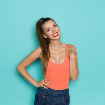 Girl with low cut blouse