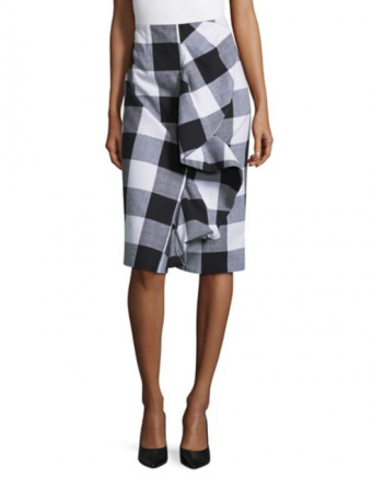 Lord & Taylor Ruffle Front Plaid Pencil Skirt