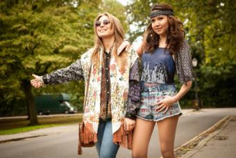 Young women dressed in 1970's fashion