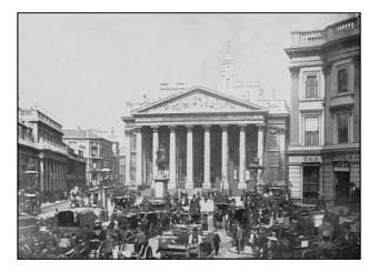 Vintage photo of people traveling by the Royal Exchange