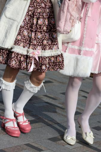 Lolita fashion on two teenage girls in Tokyo, Harajuku station
