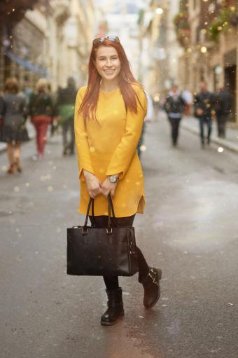Woman in solid yellow outfit