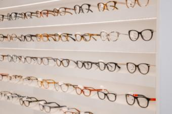 shelf with eyeglass selections