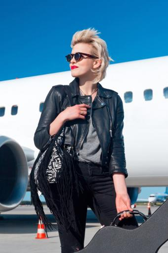 Woman wearing dark sunglasses