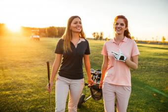 Two women on golf course