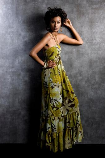 Long maxi dress with colorful pattern