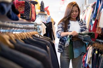 Petit Woman Shopping for Clothes