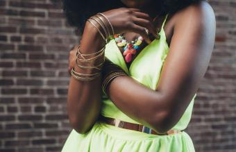 woman wearing new green dress