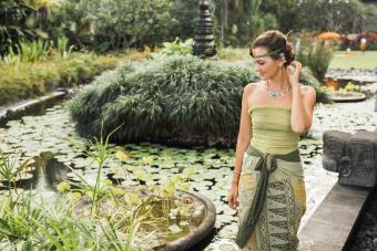 Woman in Bali wearing a sarong style skirt