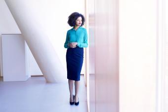 Businesswoman wearing pencil skirt