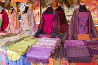 A pashmina stall in a street market