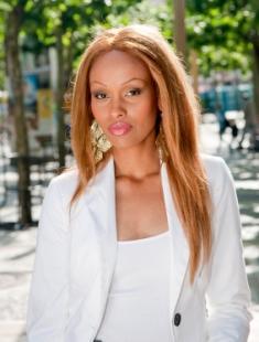 woman with lightweight white blazer
