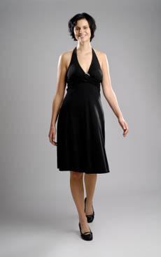 woman wearing black cocktail dress