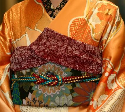womans obi on kimono